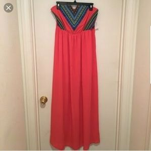 Deb Dresses - Debs coral and blue tub dress